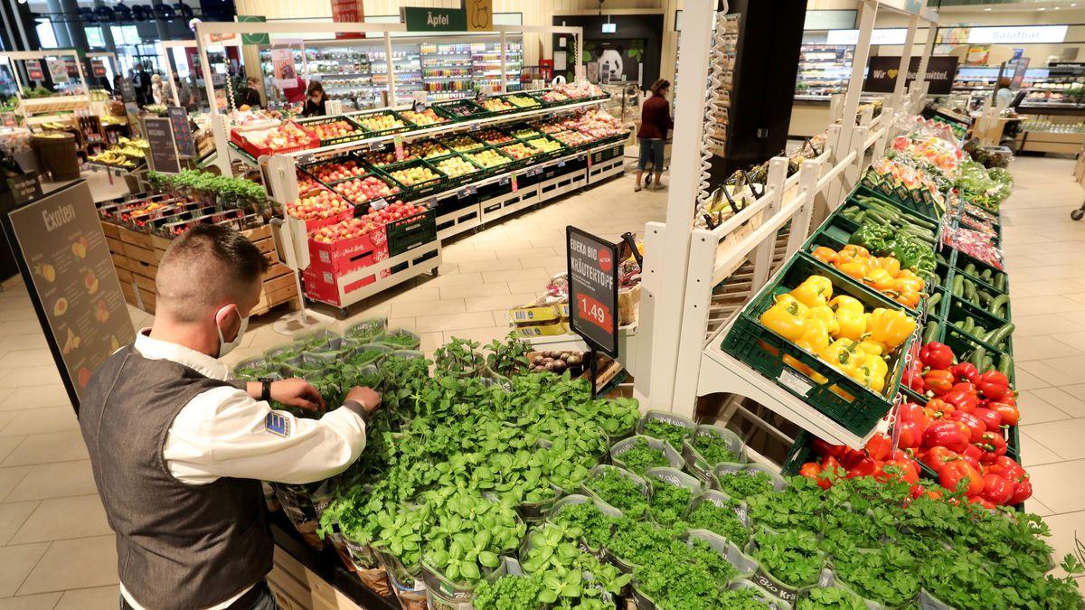 Blick in die Gemüseabteilung eines großen Supermarkts.