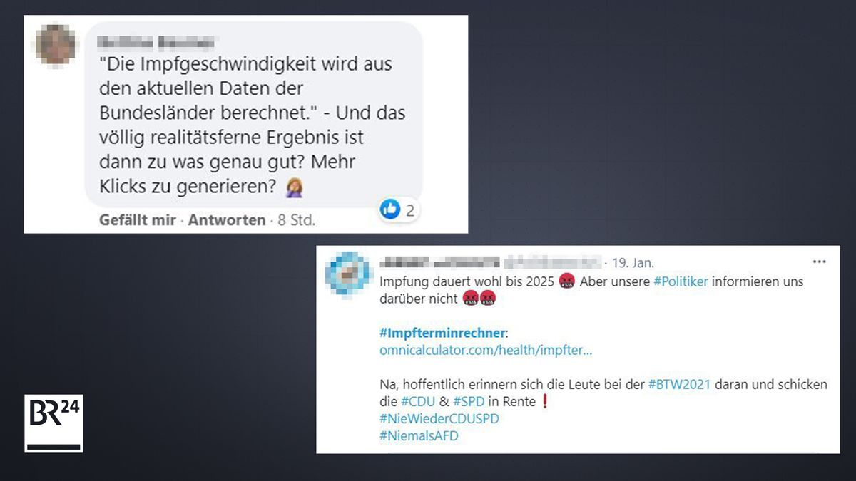 Reaktionen auf die Ergebnisse der Impftermin-Rechner in den Sozialen Medien.