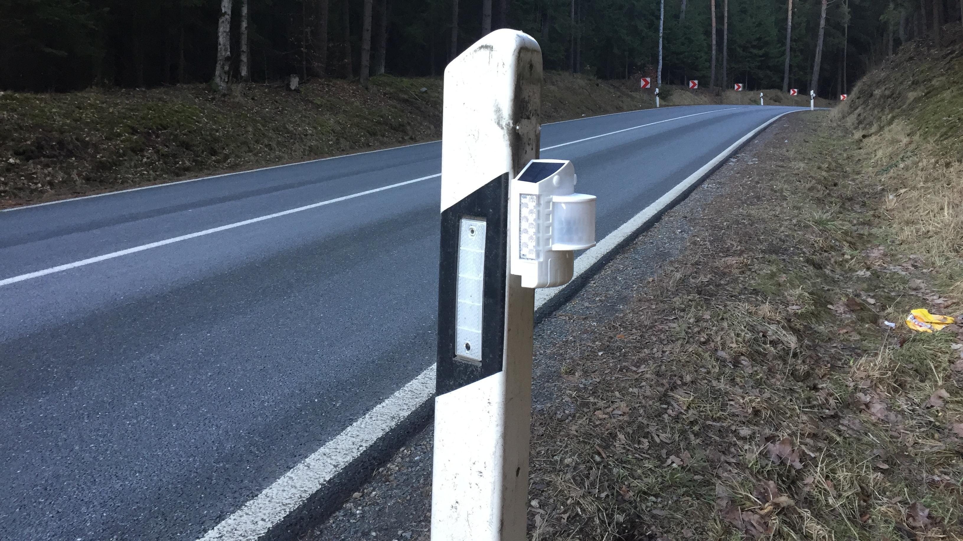 Ein Straßenpfosten mit einem neuen Wildwarnsystem an einer Straße im Landkreis Wunsiedel.