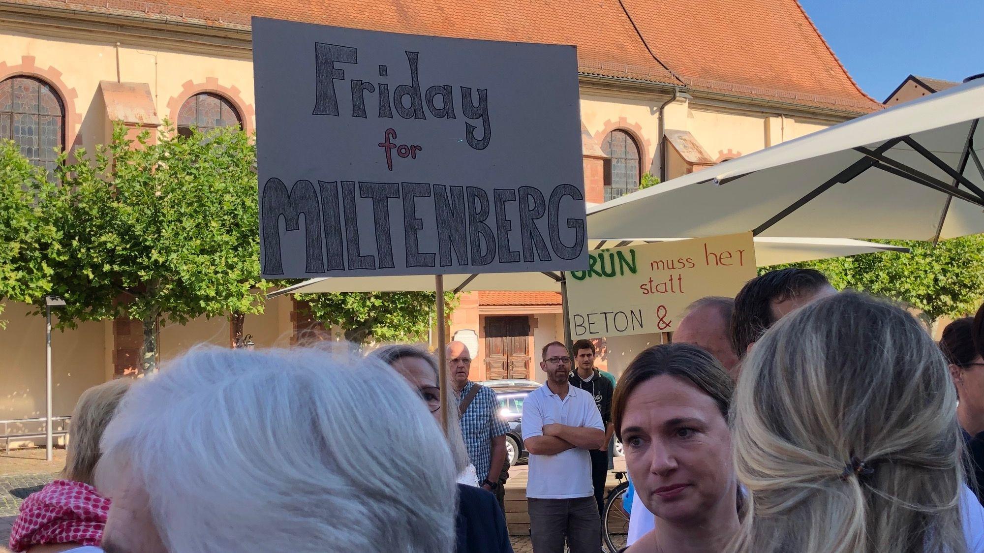 """Eine Demonstrantin hält in Miltenberg ein Schild mit der Aufschrift """"Friday for Miltenberg""""."""
