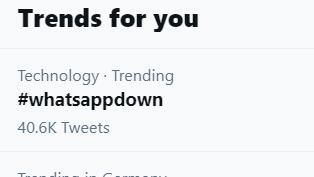 Screenshot bei Twitter: #whatsappdown