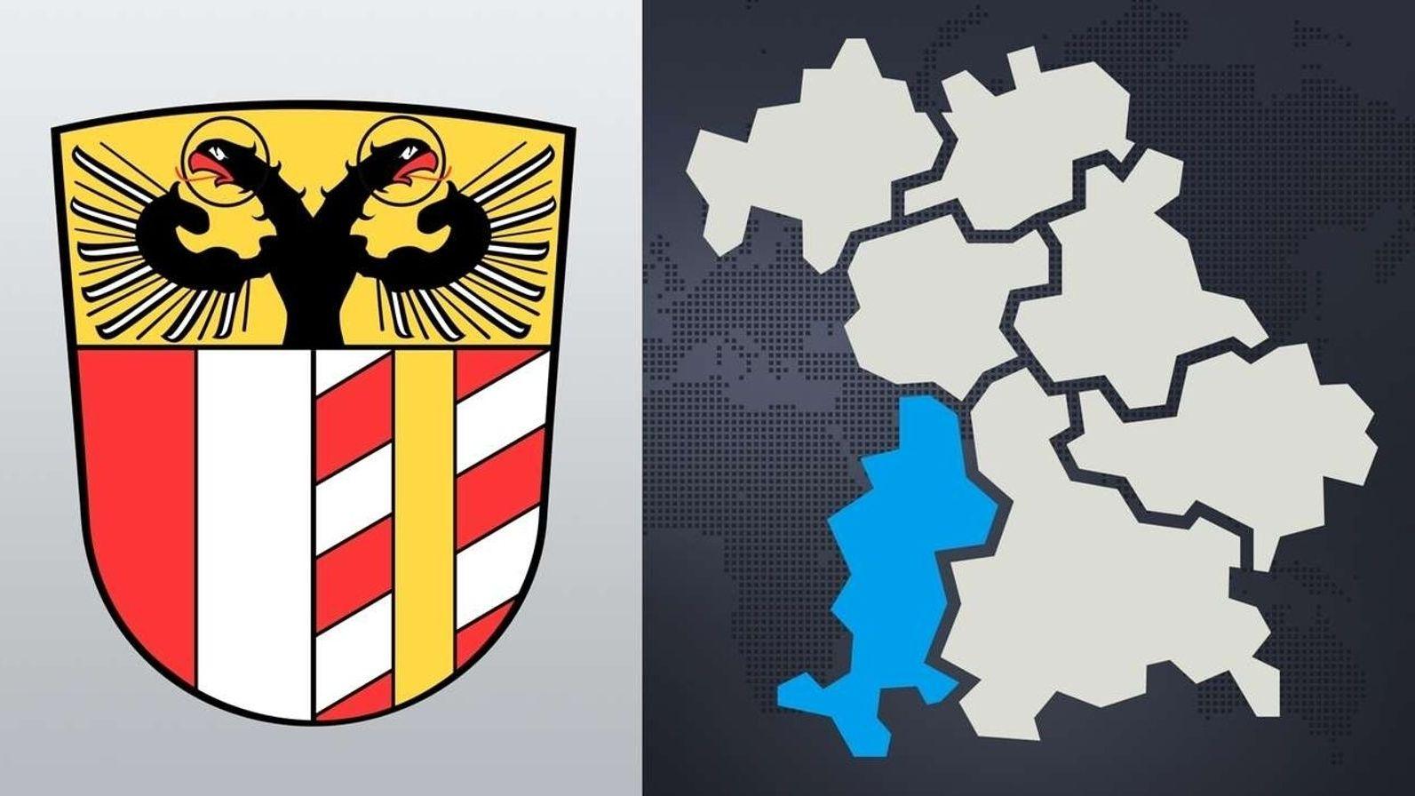 Symbolbild: Das Wappen von Schwaben, Bayernkarte