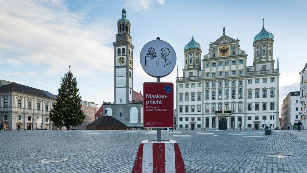 Augsburger Innenstadt während des zweiten Lockdowns.