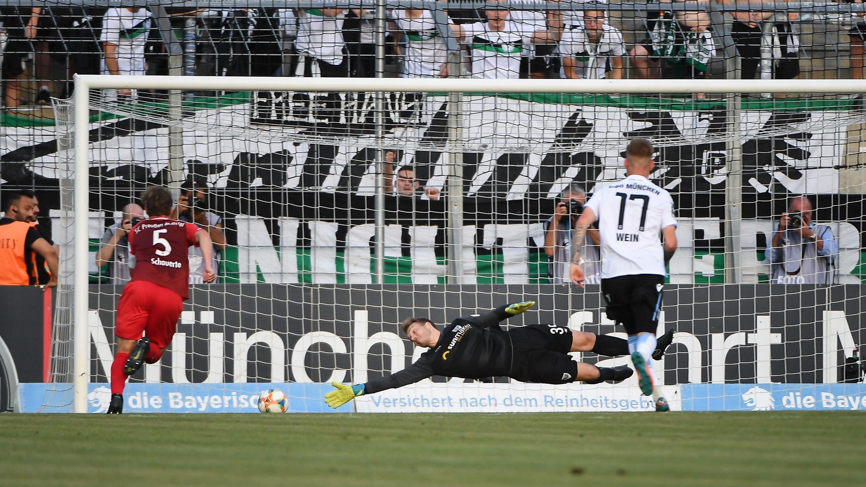 Das 1:1 für den TSV 1860 München gegen Preußen Münster per Foulelfmeter