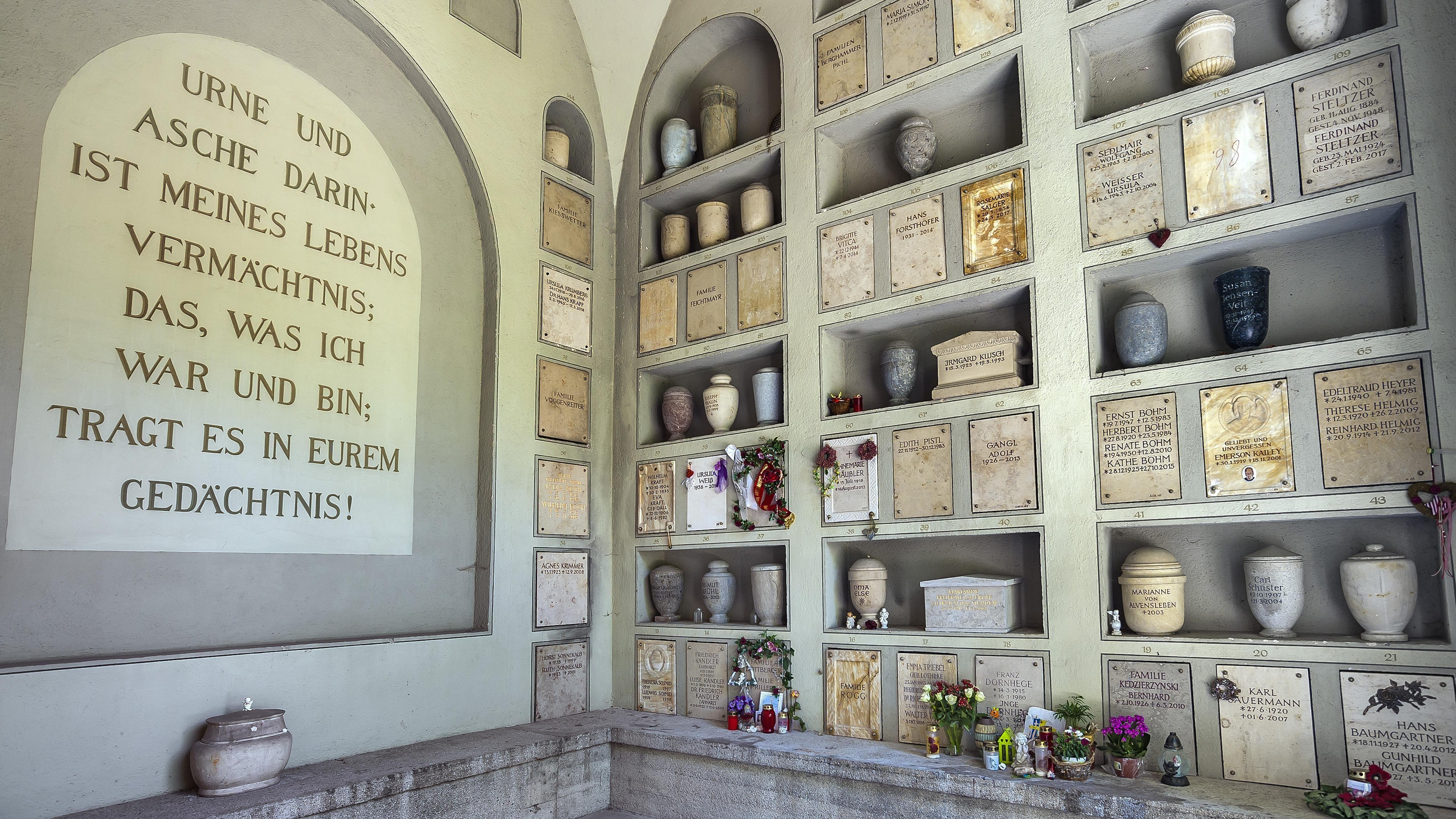 Symbolbild: Die Urnenhalle auf dem Nordfriedhof an der Ungererstraße in München