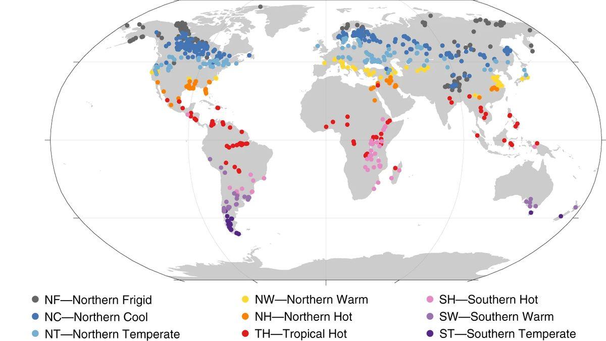 """Vom """"Northern Frigid"""", dem nördlich-kalten Seentyp bis zum südlich-gemäßigten See: Je nach Entfernung zum Äquator und Höhe über dem Meeresspiegel lassen sich Süßwasserseen weltweit in neun verschiedene Klimatypen unterteilen."""