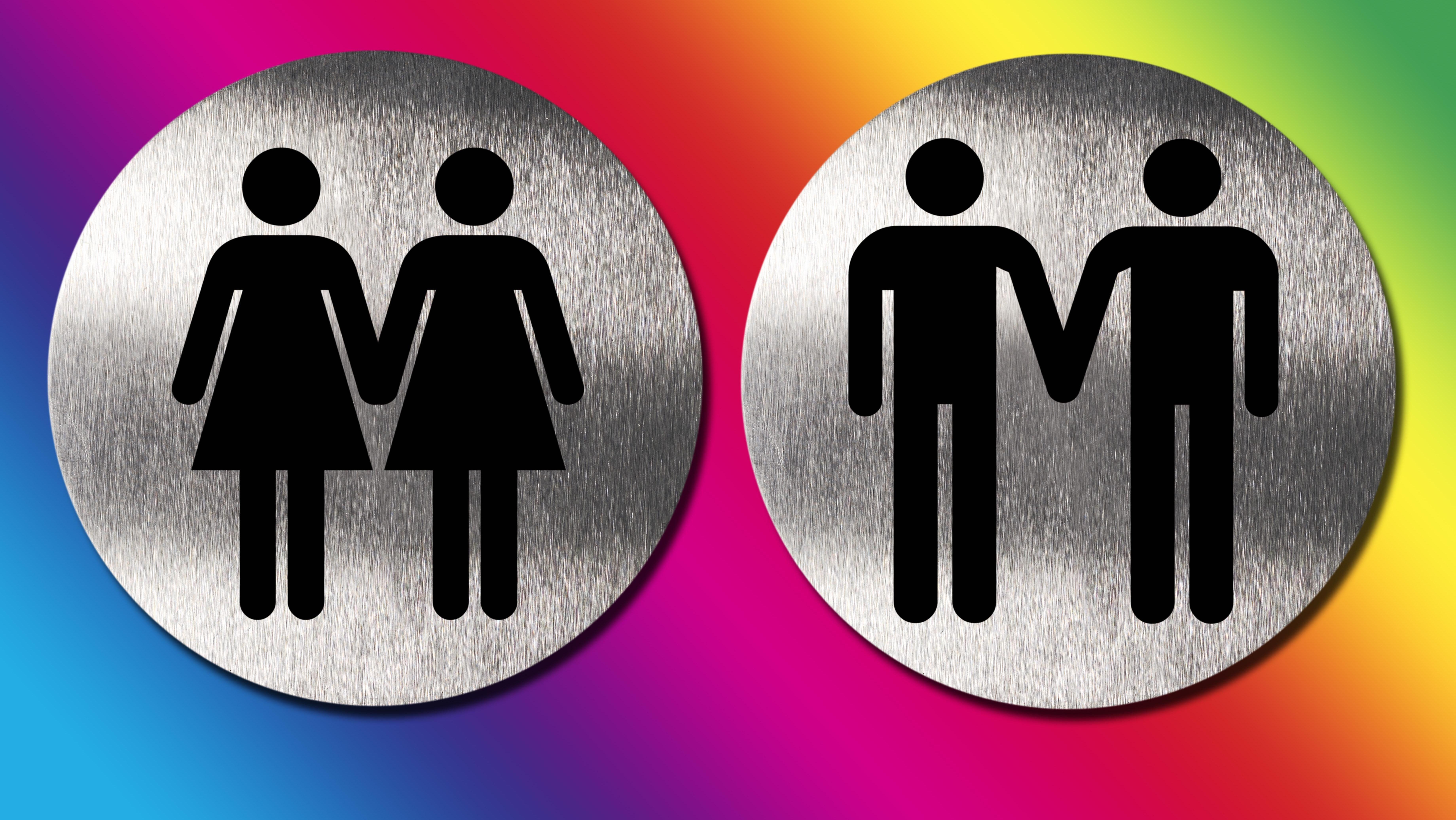 Männerpaar und Frauenpaar, Piktogramme, Symbolbild.