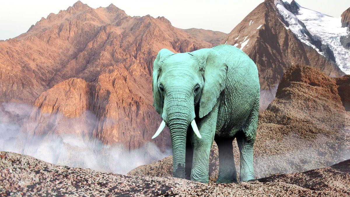 Grüner Elefant vor einem schneebedeckten Berg