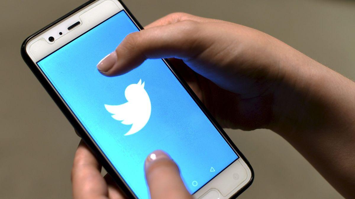 Frauenhände halten Smartphone, auf dem das Twitter-Logo zu sehen ist