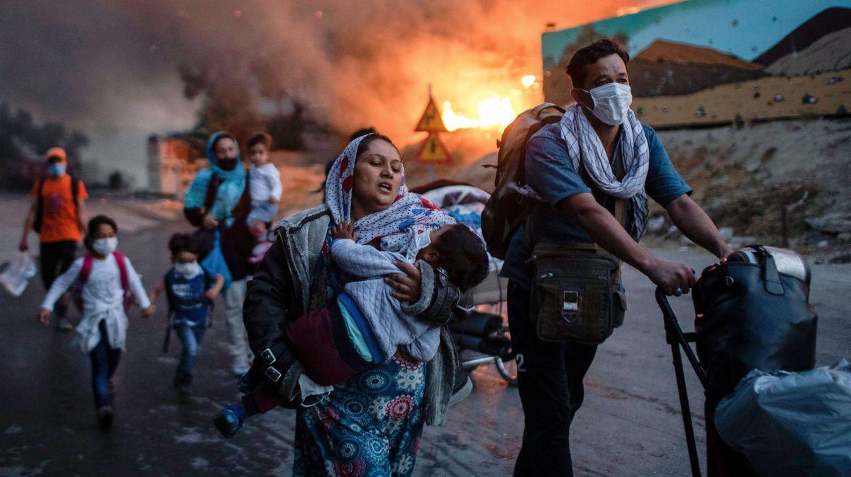 Wieder auf der Flucht: Bewohner des abgebrannten Lagers Moria. (9.9.2020)