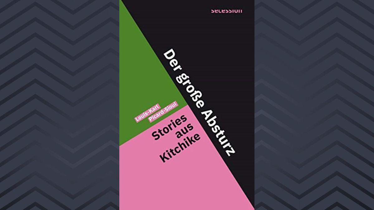 """Eine große schwarze und eine kleinere grüne und rosane Fläche bilden das Buchcover von """"Der große Absturz"""" von Louis-Karl Picard-Sioui."""