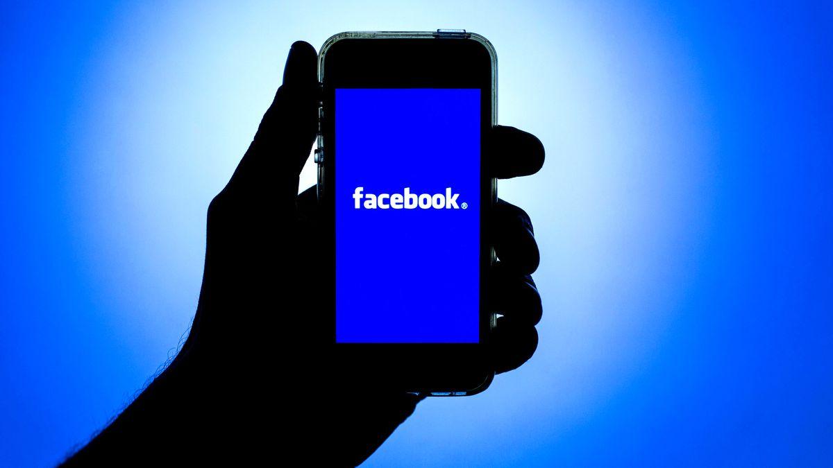 """Eine geschwärzte Hand in blauem Gegenlicht hält ein Smartphone mit dem Schriftzug """"facebook"""" in die Höhe."""
