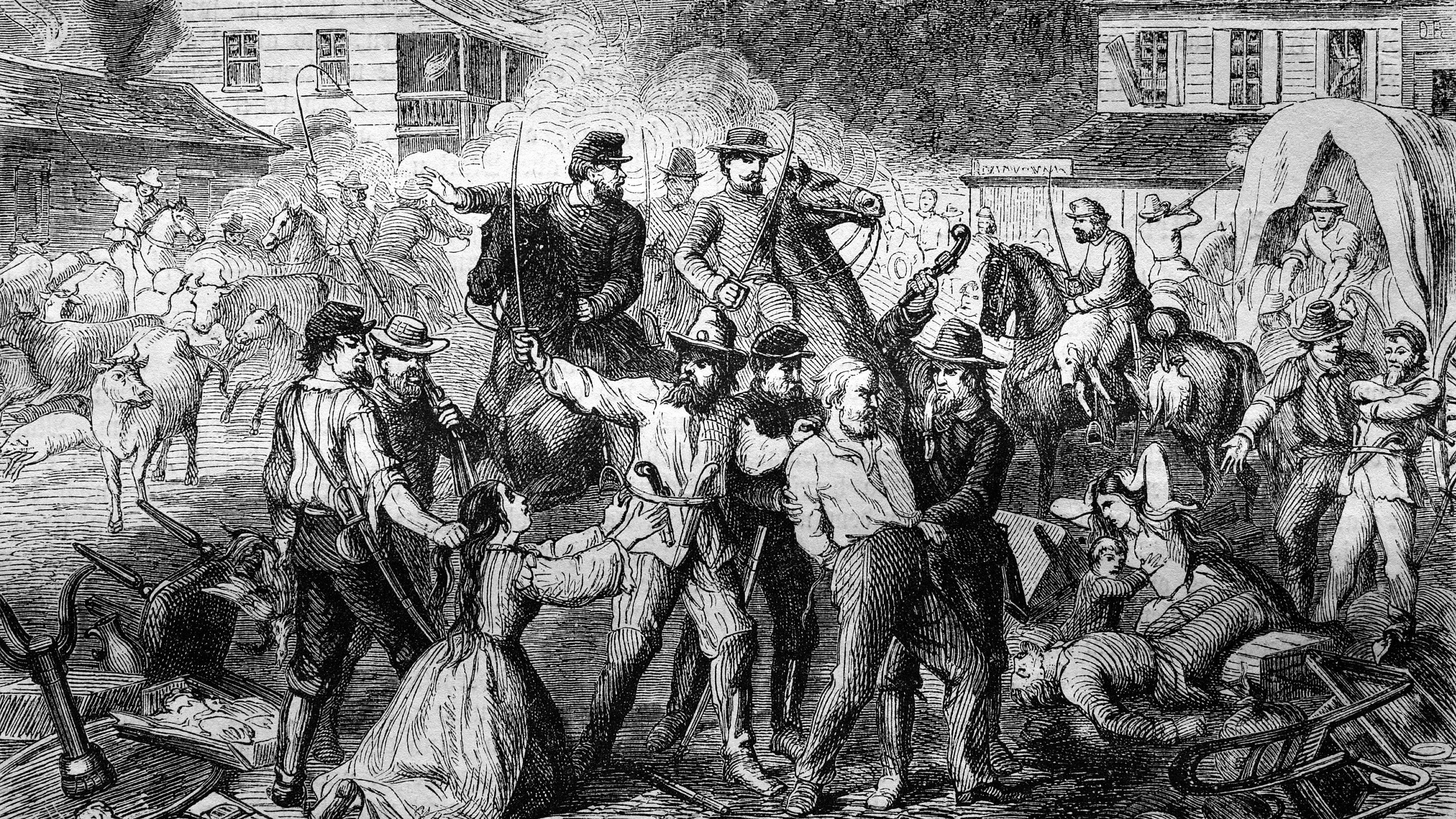 """Ein historischer Stich zeigt eine Szene aus dem Amerikanischen Bürgerkrieg. Margaret Mitchells Roman """"Vom Wind verweht"""" gilt als großes Epos über diese blutige historische Zäsur."""