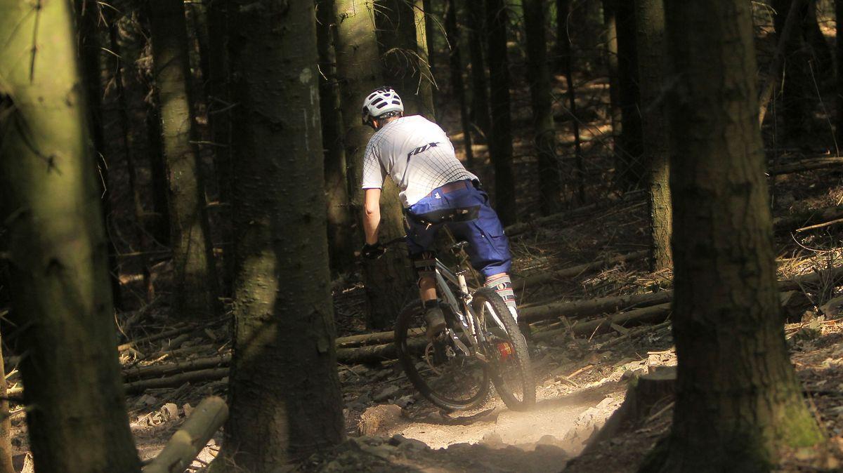 Ein Mountainbiker fährt durch einen Wald.