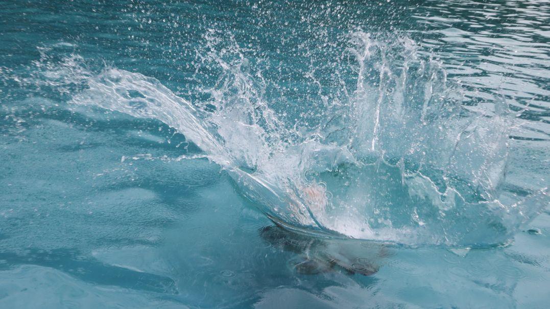 Person springt ins Becken eines Freibads (Symbolbild)