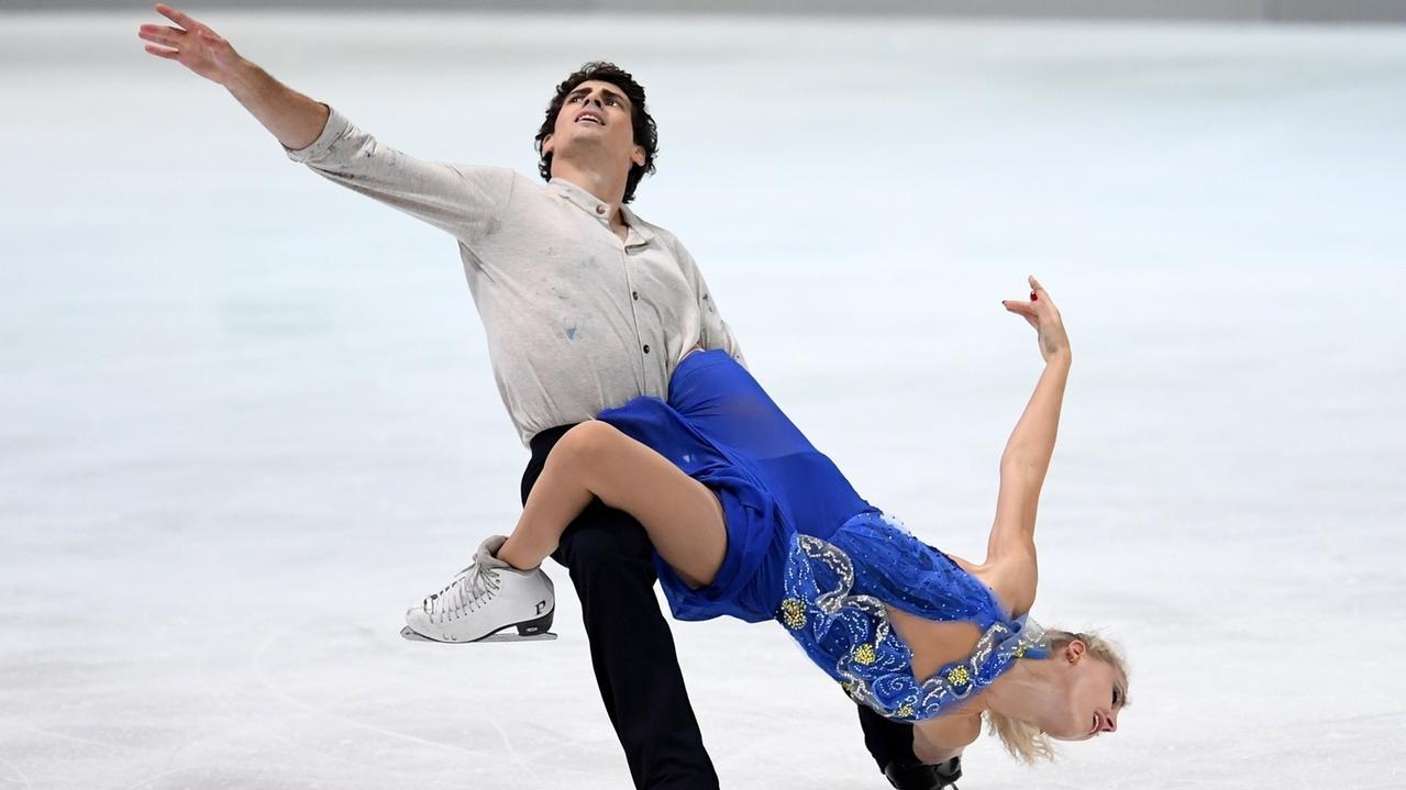 Das kanadische Eislaufduo Piper Gilles und Paul Poirier in Aktion.