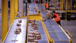 Ein Mitarbeiter sortiert an einem Transportband Paketsendungen (Symbolbild).   Bild:picture alliance/dpa/dpa-Zentralbild   Jens Büttner