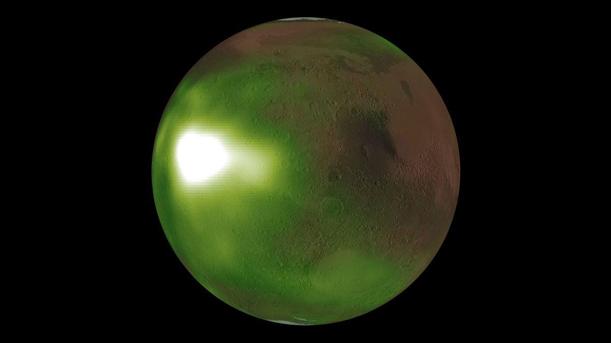 Forscher sind dem Nachtleuchten des Planeten Mars auf der Spur. Vor allem über den Polen leuchtet Mars jede Nacht in ultraviolettem Licht.