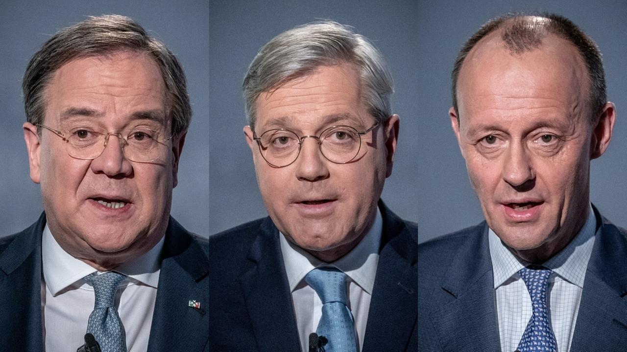 Armin Laschet, Norbert Röttgen, Friedrich Merz - die drei Kandidaten für den CDU-Vorsitz