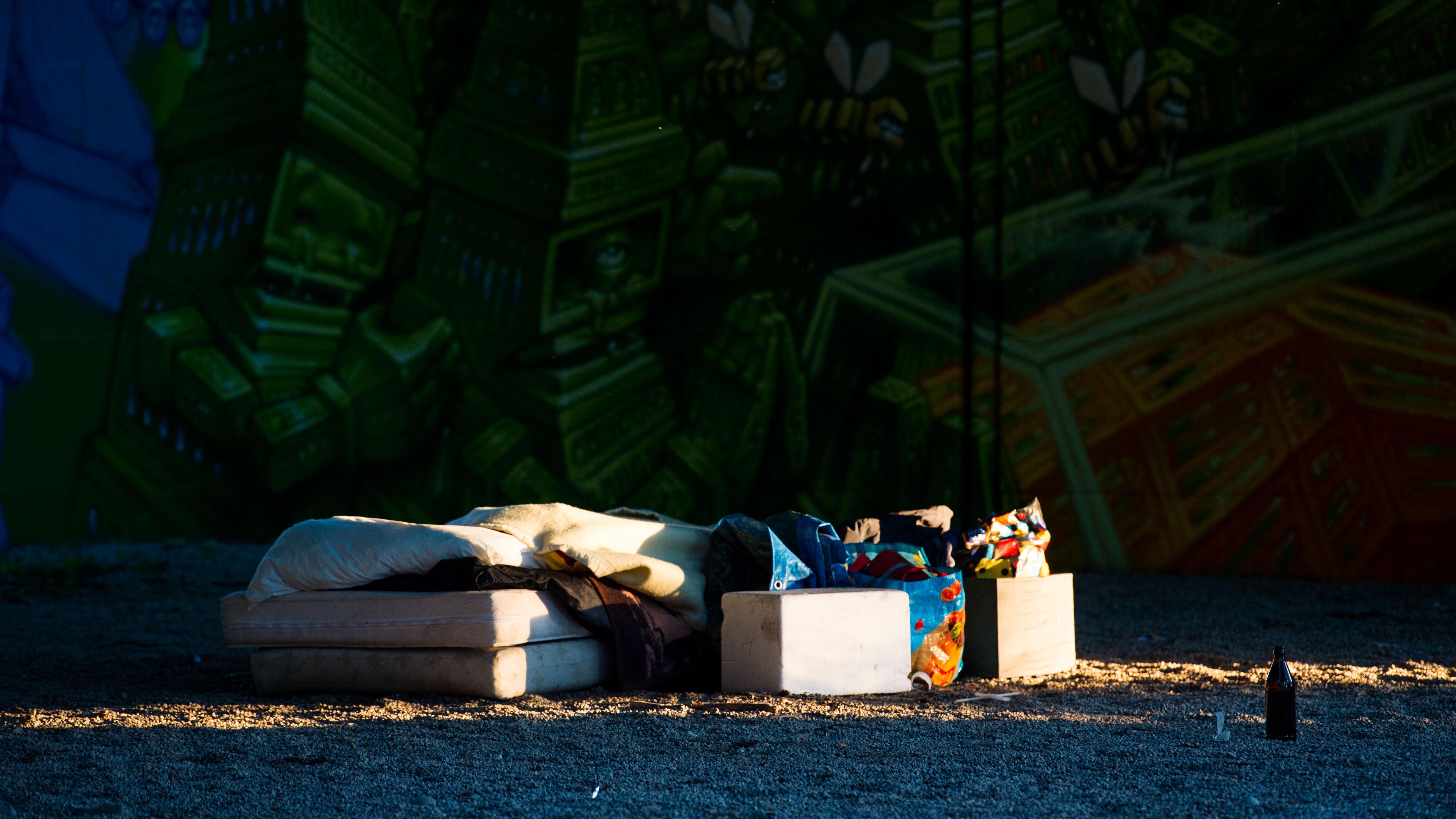 Ein Obdachlosenlager in München