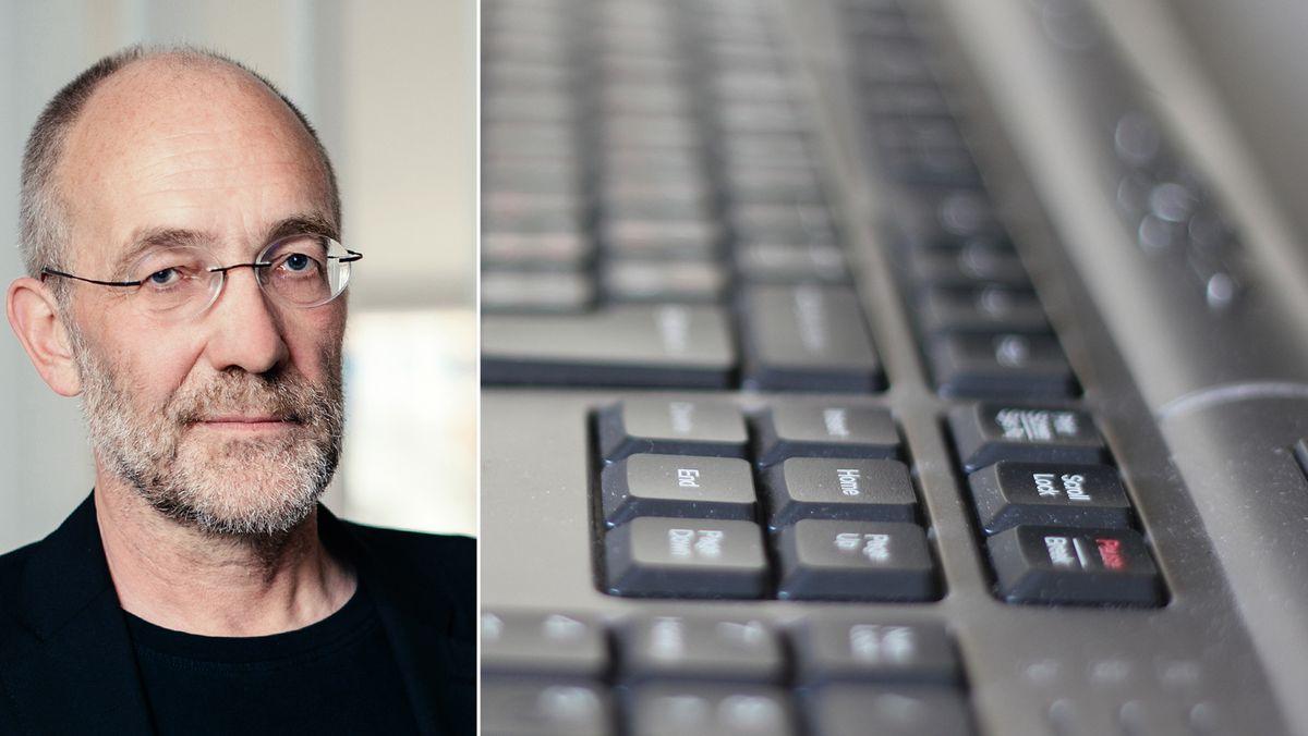 Portraitfoto vom Autor, rechts daneben eine Tastatur