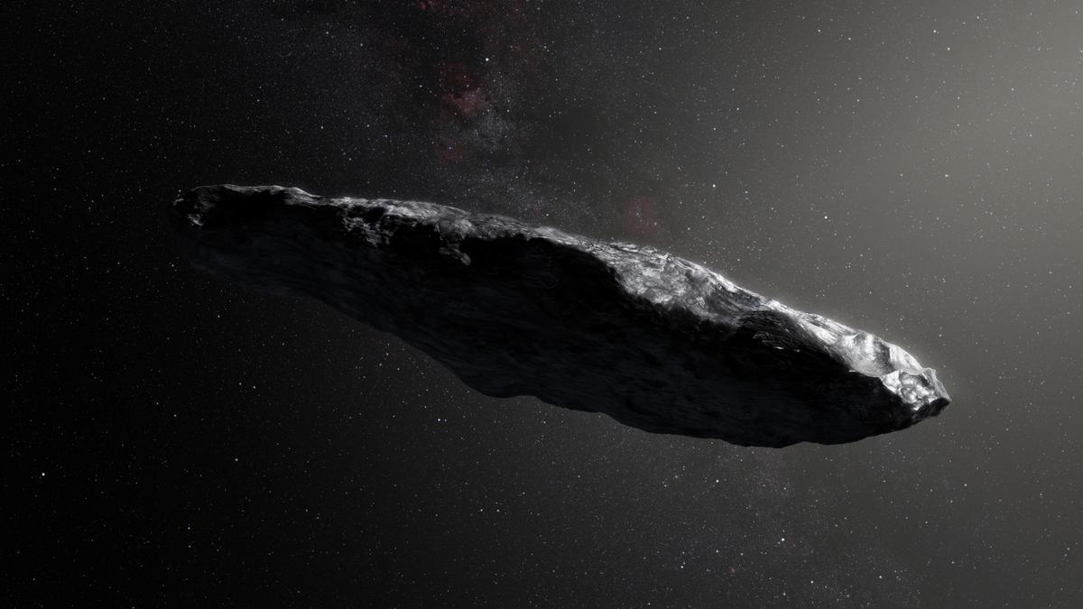 Der Asteroid 'Oumuamua in künstlerischer Darstellung