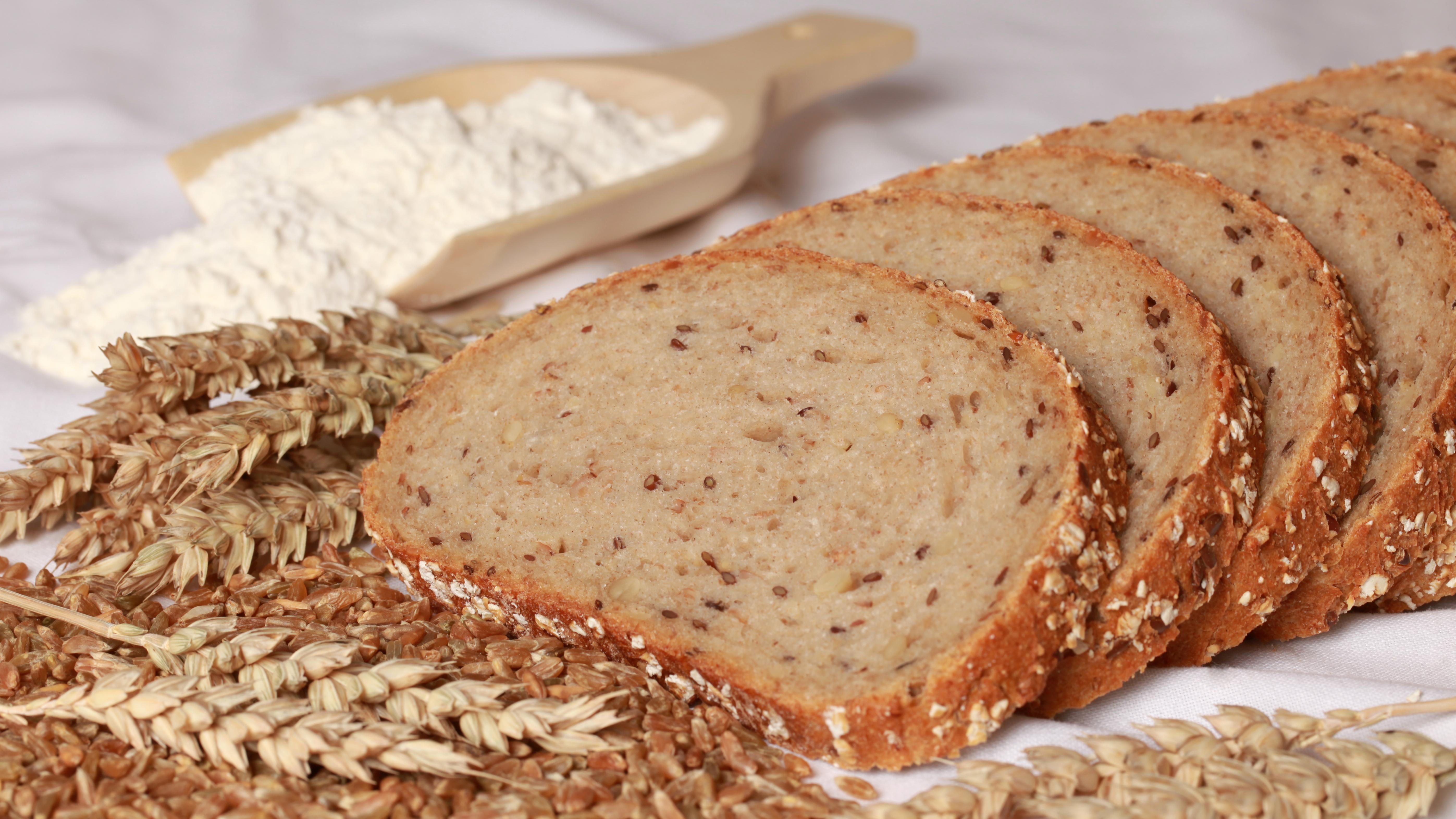 Mehrere Brotscheiben, Weizen, Getreidekörner, eine Schaufel mit Mehl.