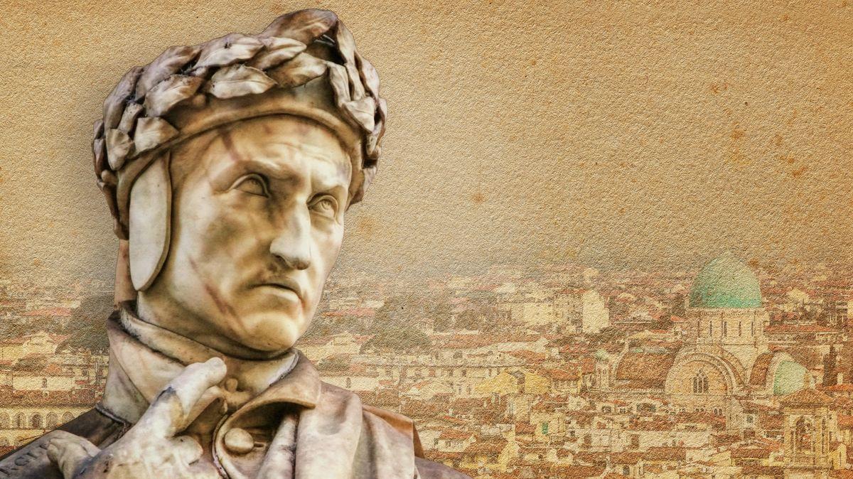 Dante-Büste vor dem Panorama von Florenz