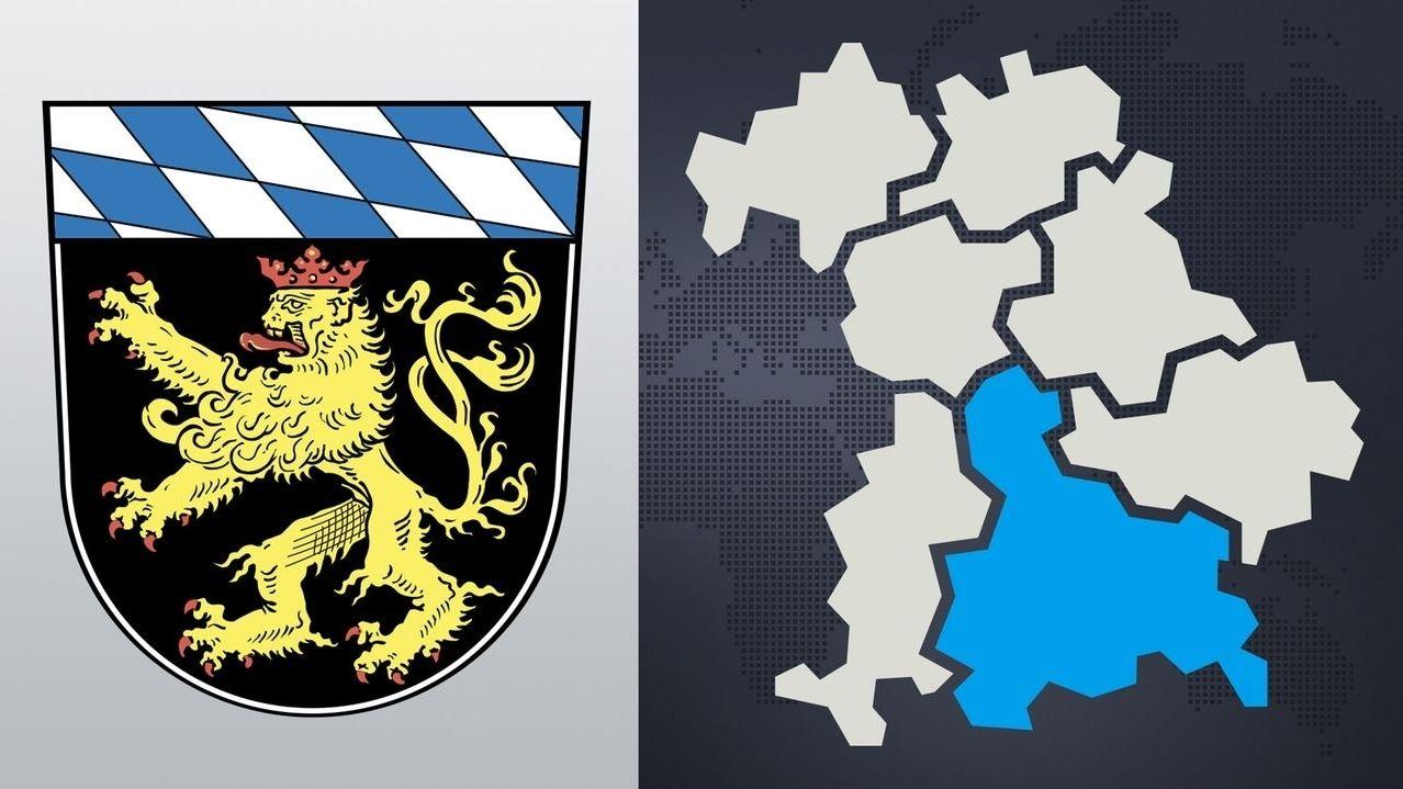 Wappen Regierungsbezirk Oberbayern und Übersichtskarte mit Lage in Bayern