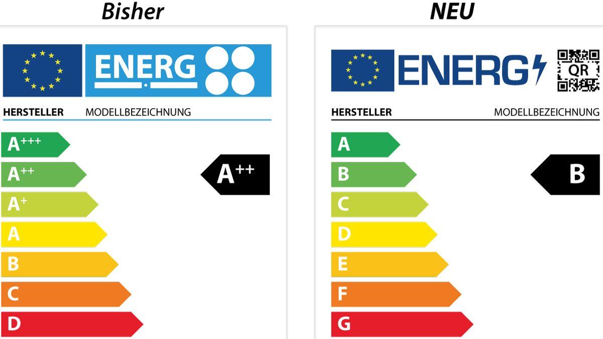 Links das alte EU-Energielabel für Elektrogeräte, rechts das neue Label.