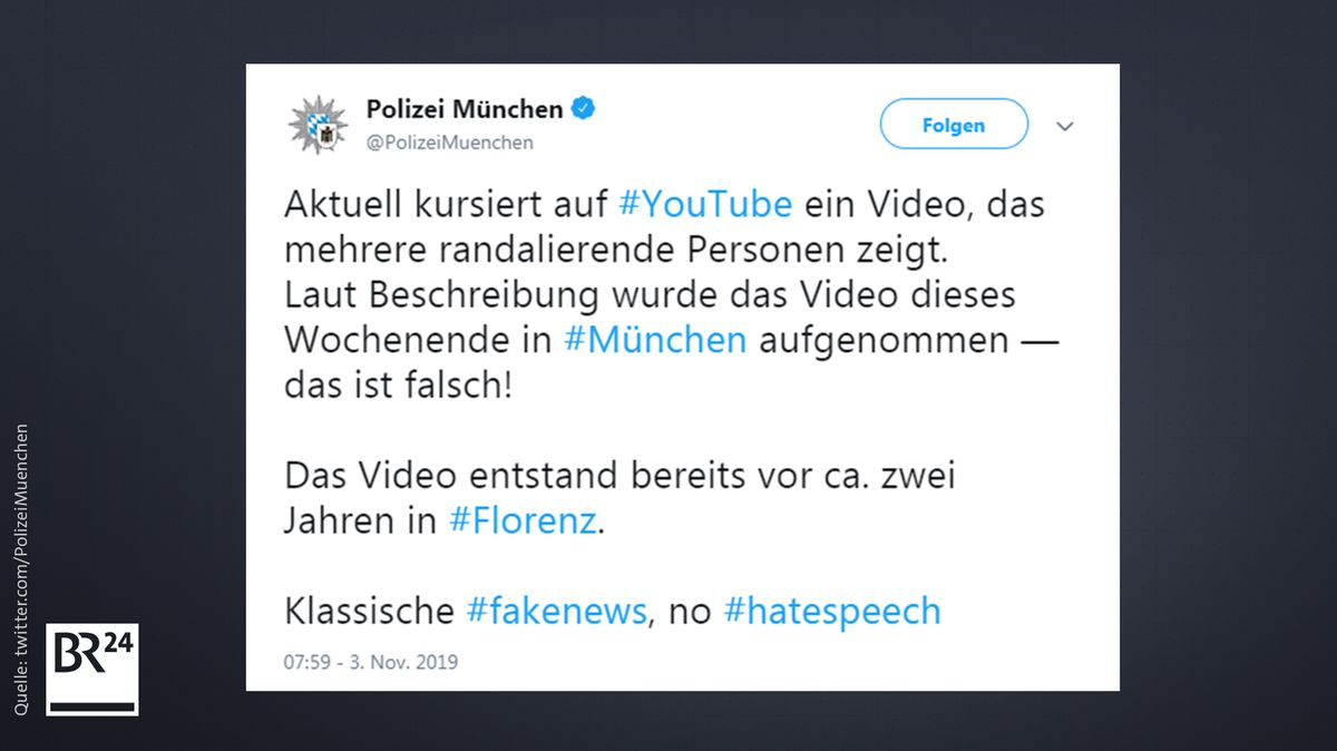 Die Münchner Polizei stellte auf Twitter klar, dass ein gegen Migranten gerichtetes Video nicht aus München stammte.