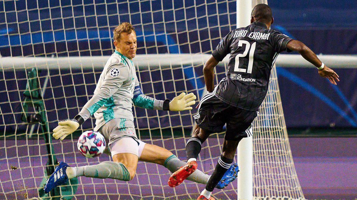 Manuel Neuer verhindert im Champions-League-Halbfinale ein Tor gegen Lyons Toko Ekambi