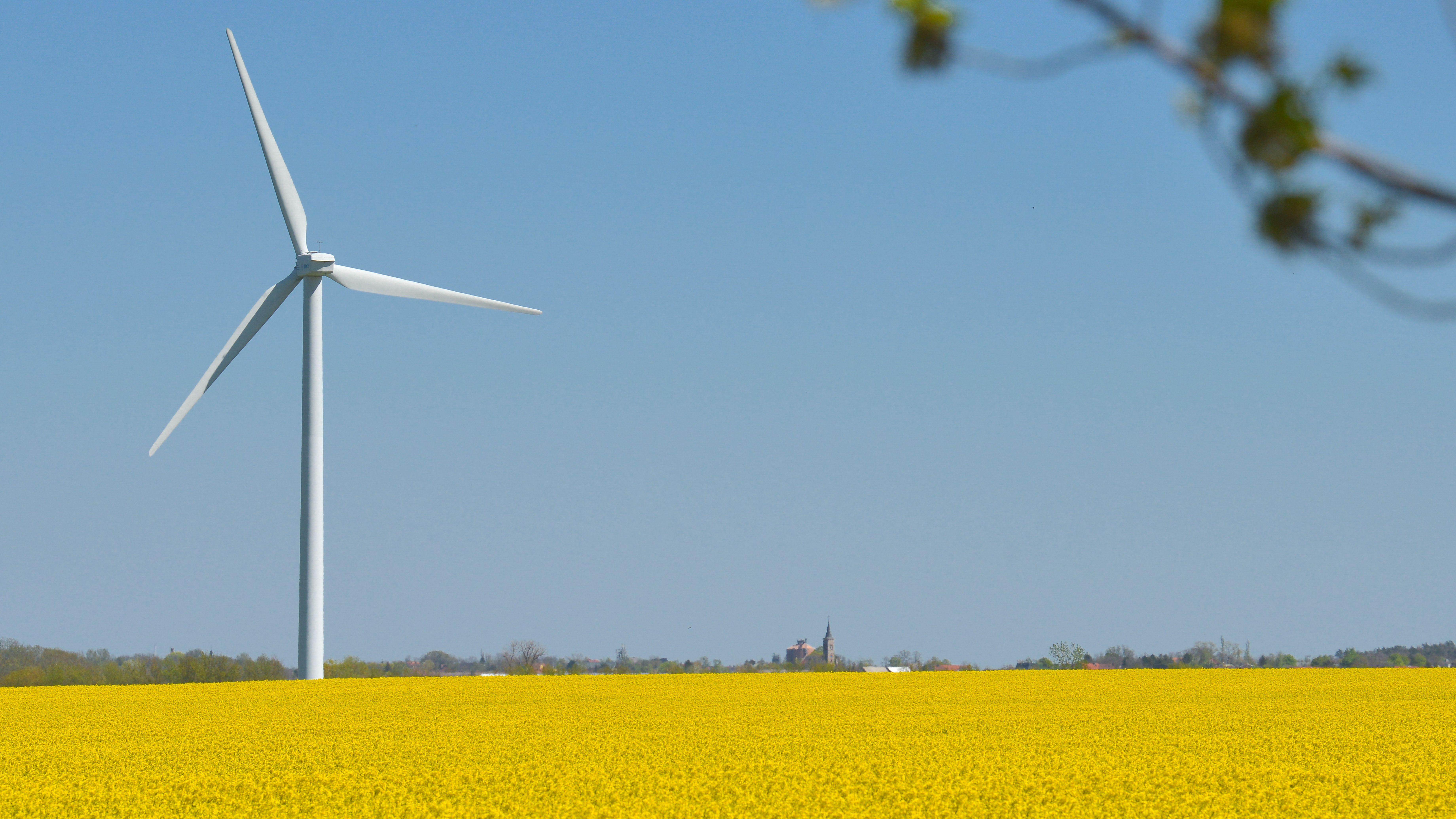 Ein Windrad steht in der Landschaft