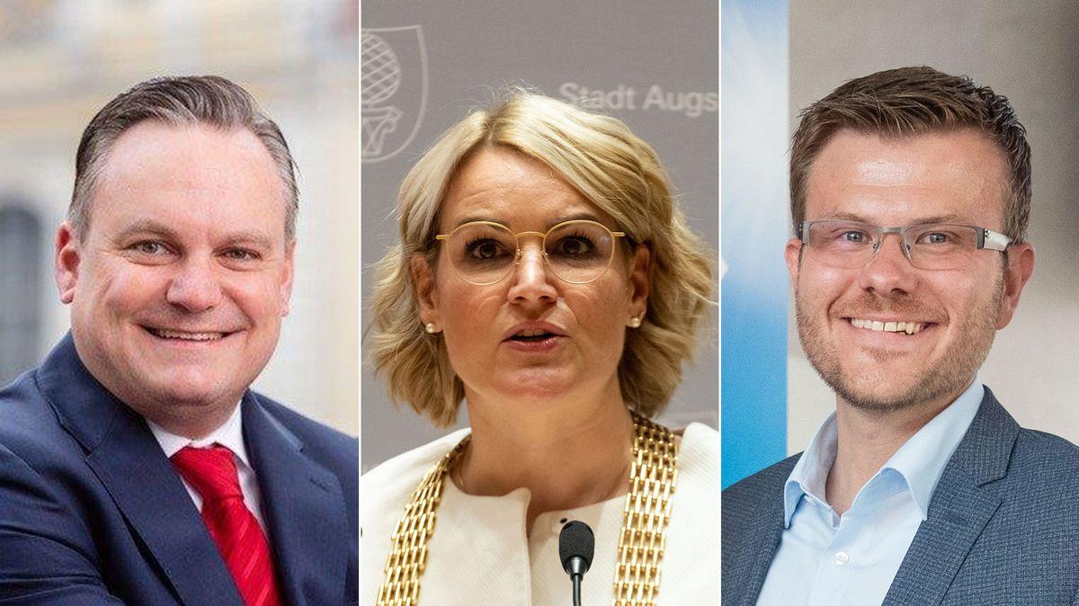 Christian Scharpf (SPD), Oberbürgermeister von Ingolstadt; Eva Weber (CSU). Oberbürgermeisterin von Augsburg; Markus König (CSU), Oberbürgermeister von Nürnberg (v.l.n.r.)