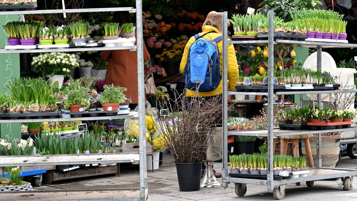 Eine Frau steht auf dem Viktualienmarkt vor einem Blumenladen.