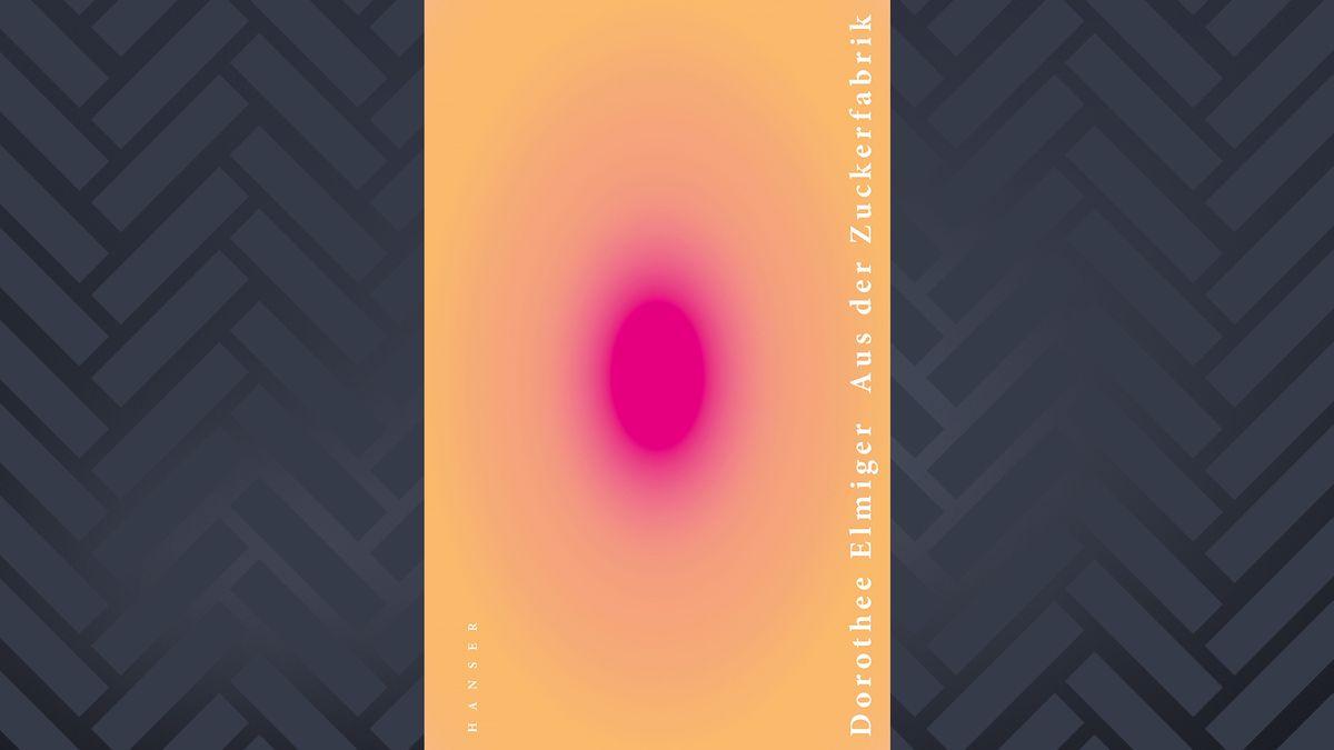 Auf orangenem Grund ein pinker ausstrahlender eiförmiger Fleck, die weiße Schrift ist sehr klein und an den Rand gerutscht: Cover Dorothee Elmiger. Aus der Zuckerfabrik