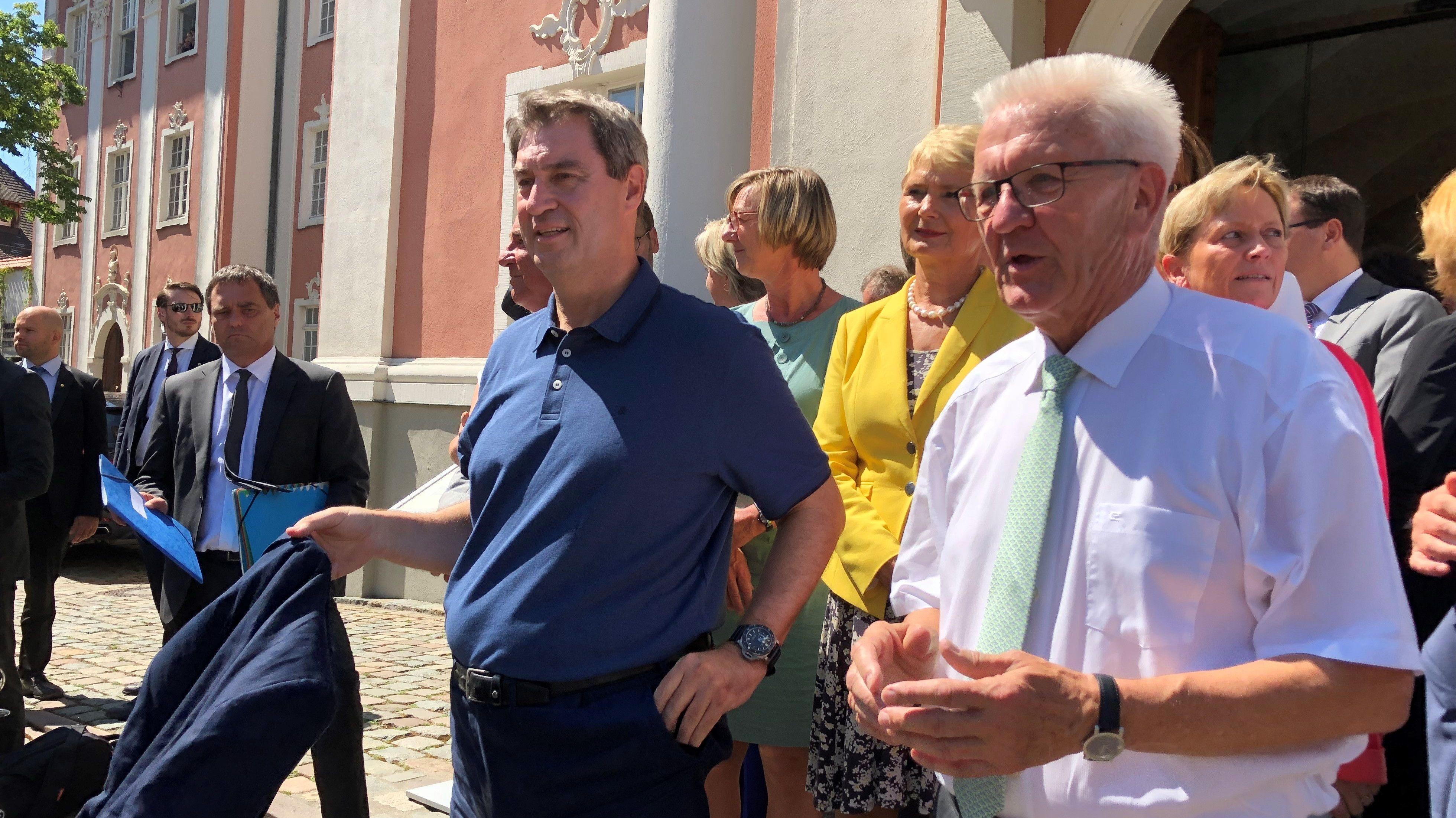 Söder und Kretschmann unterwegs in Meersburg