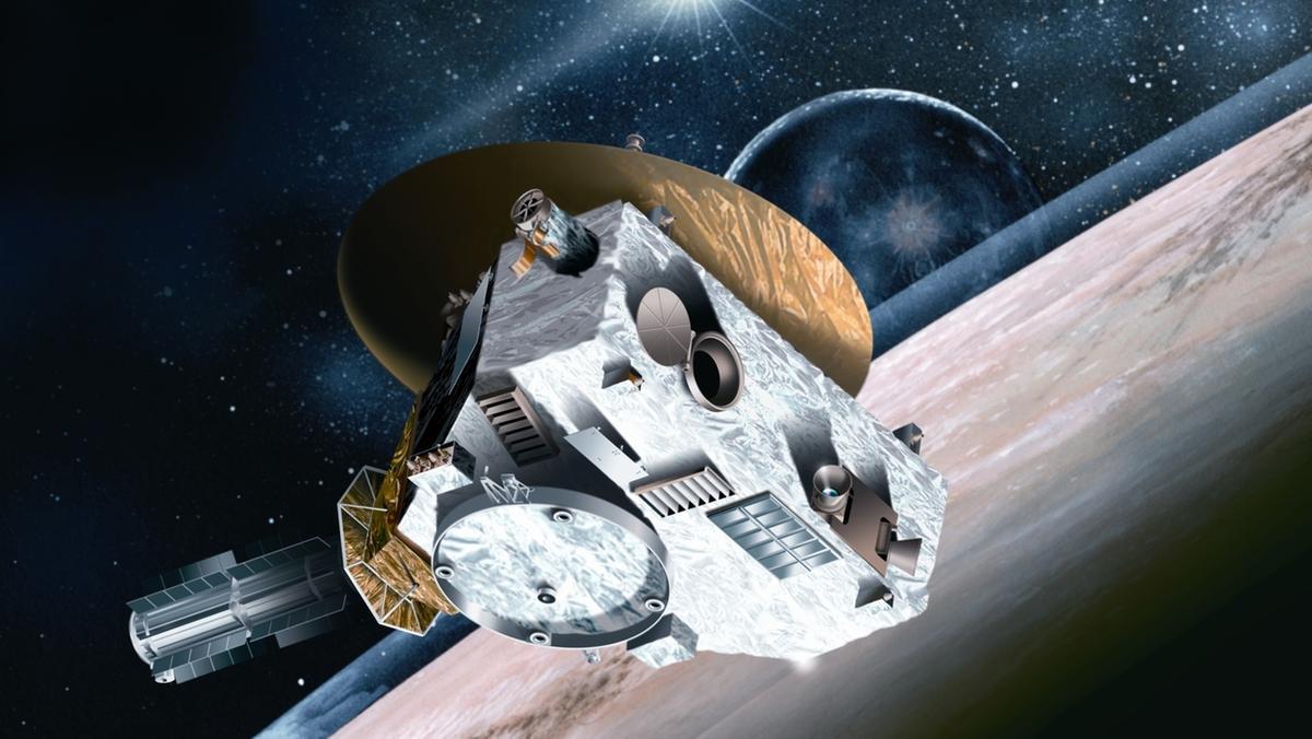 grafische Darstellung der Raumsonde New Horizons über der Oberfläche des Zwergplaneten Pluto