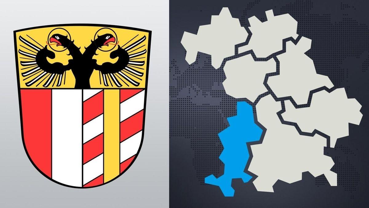 Symbolbild: Wappen von Schwaben und Bayern-Karte