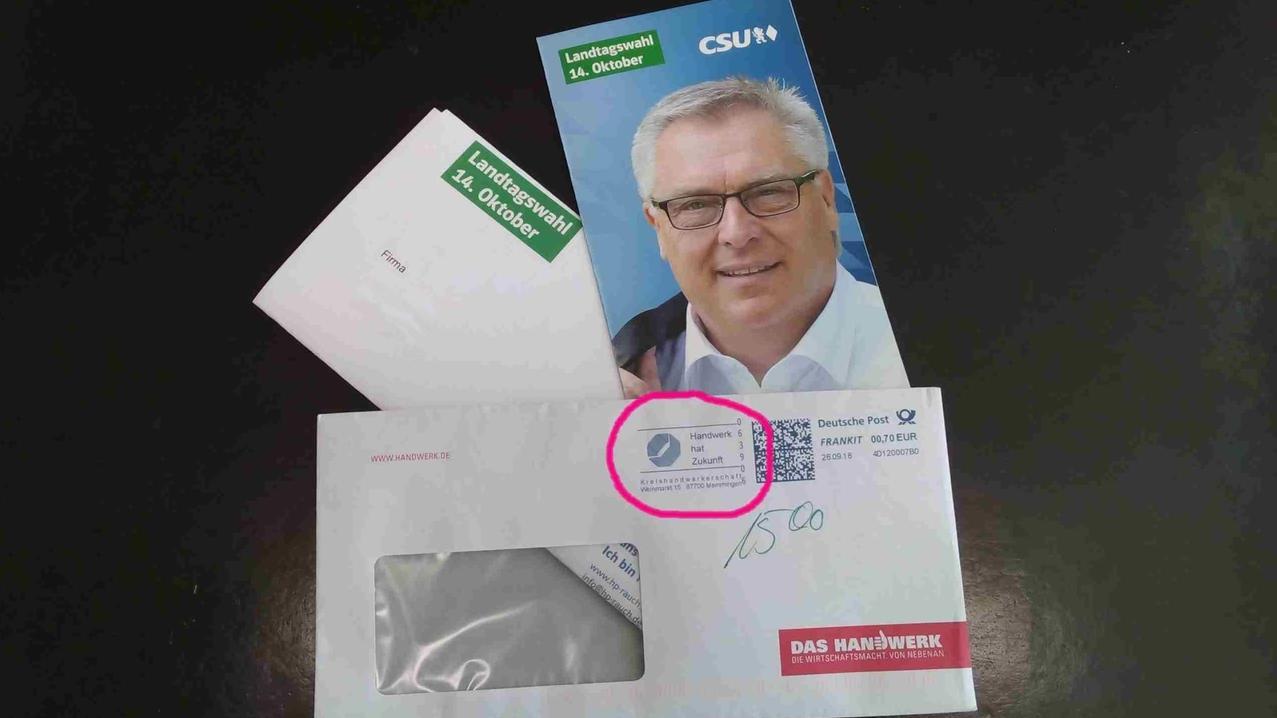 Brief mit CSU-Wahlwerbung, Absender: Kreishandwerkerschaft