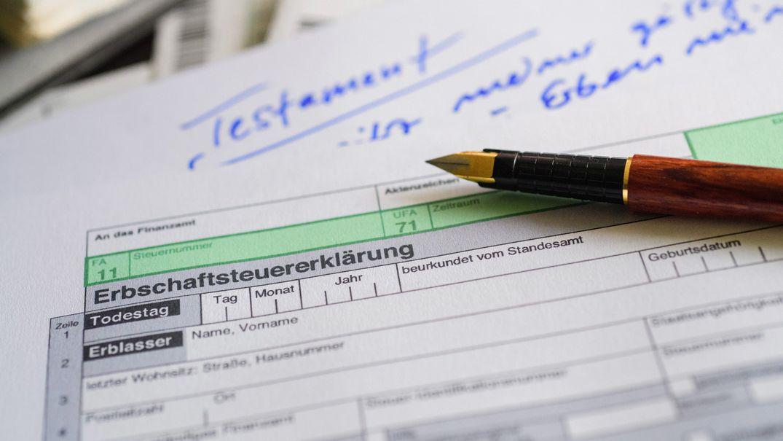 Ein Steuerformular zur Erbschaftssteuer