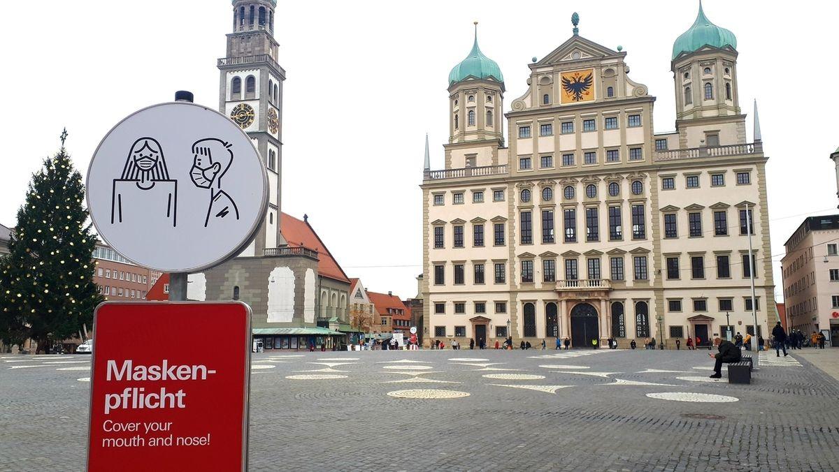 Rathausplatz Augsburg: Hier gilt die Maskenpflicht.