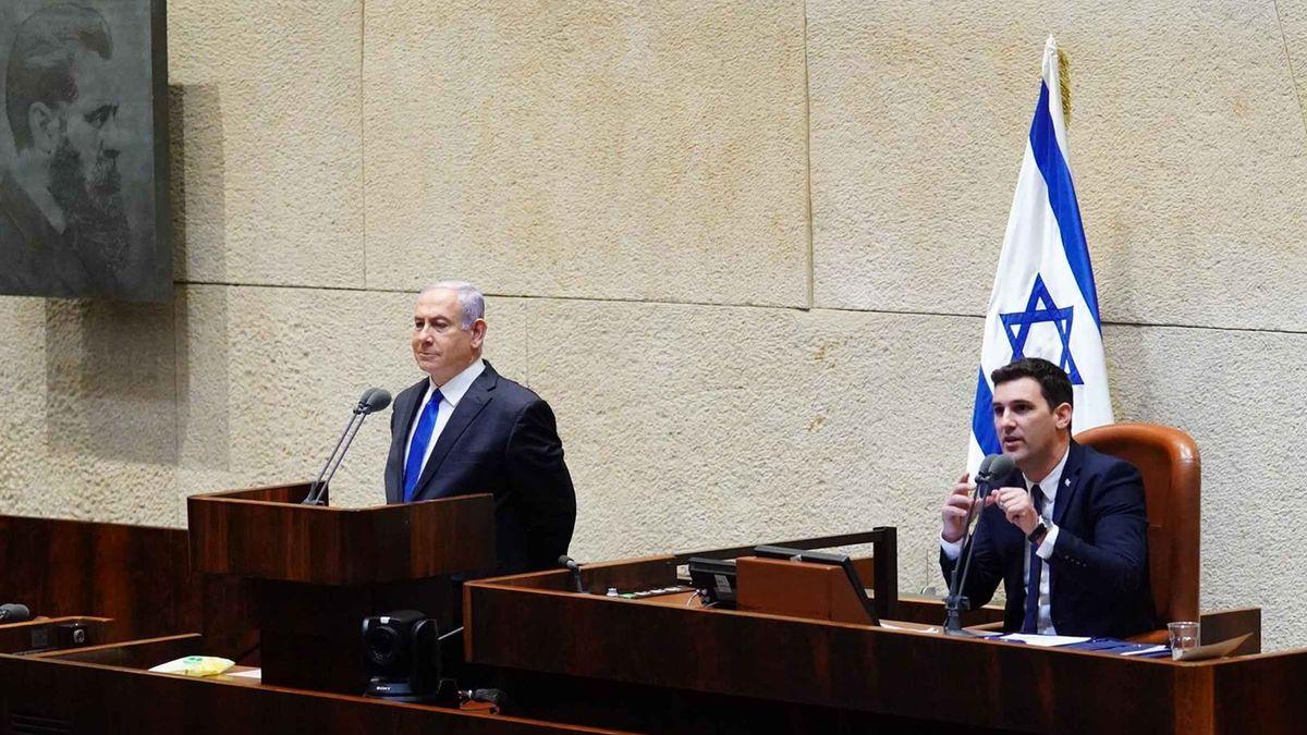 Netanjahu spricht in der Knesset –kurz bevor er erneut als Premier vereidigt wird.
