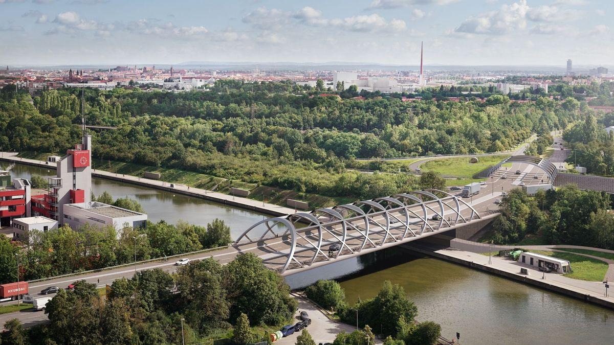Projektion der neuen Hafenbrücke in Nürnberg