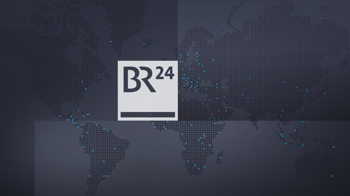 BR24-Logo auf Weltkarte mit schwarzem Hintergrund und blauen Highlights