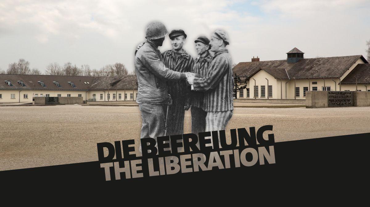 Ehemalige Häftlinge stehen bei einem US-Soldaten am Tag der Befreiung in KZ Dachau.