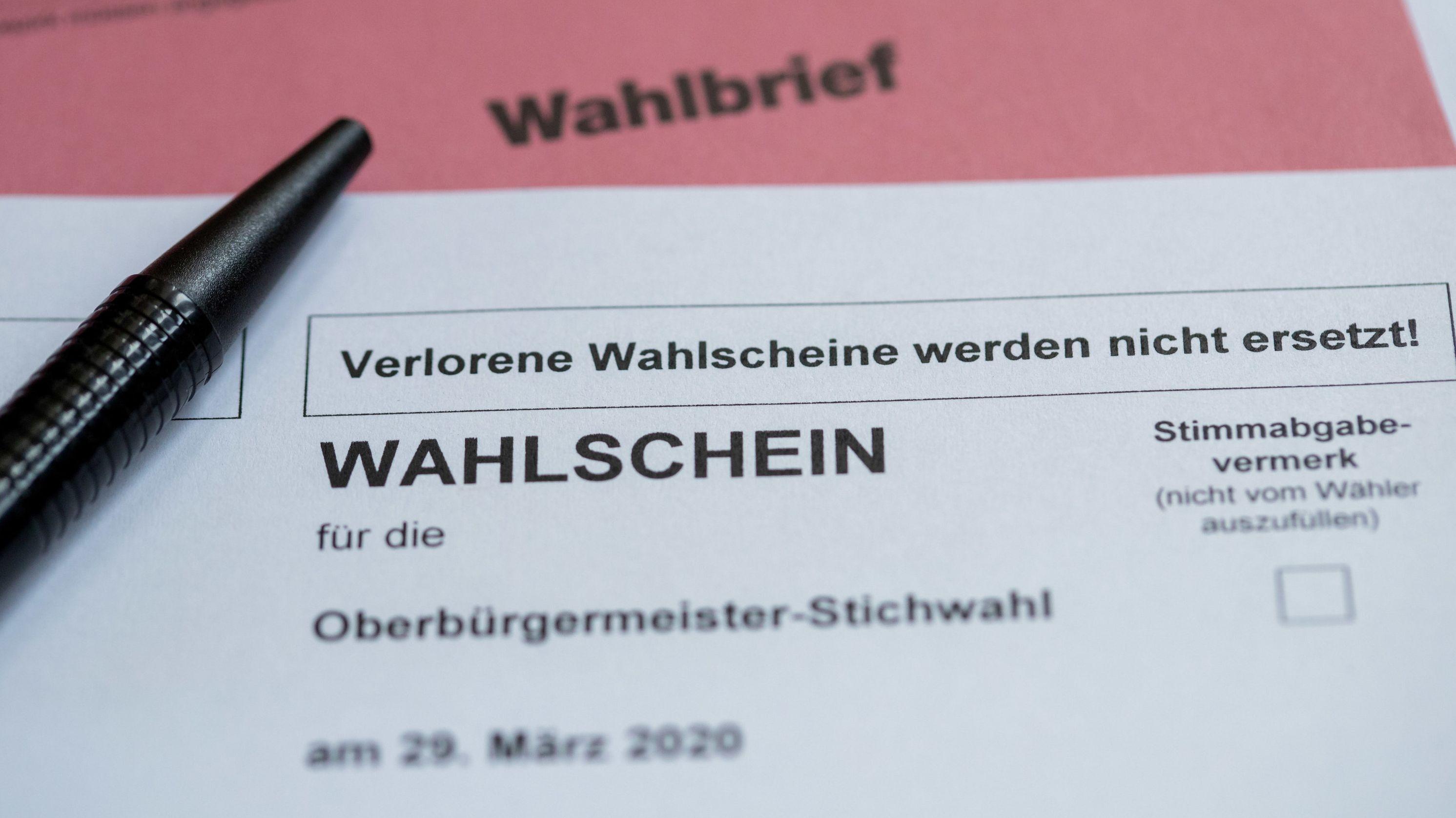 Briefwahlunterlagen für die Stichwahl in Nürnberg 2020