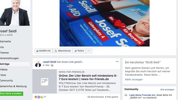 Screenshot der Seite des AfD - Kandidaten Josef Seidl. Zu sehen ist, wie er den Post teilt.