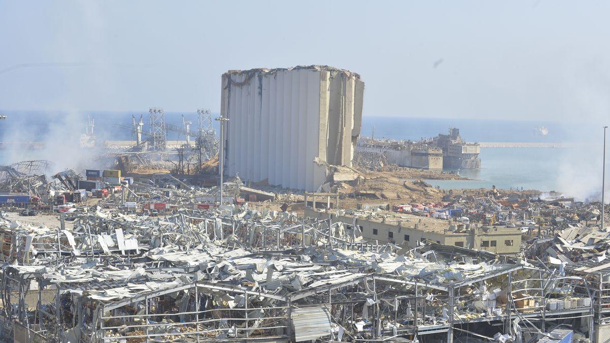 Zerstörtes Gebiet nach der Explosion in Beirut im Libanon