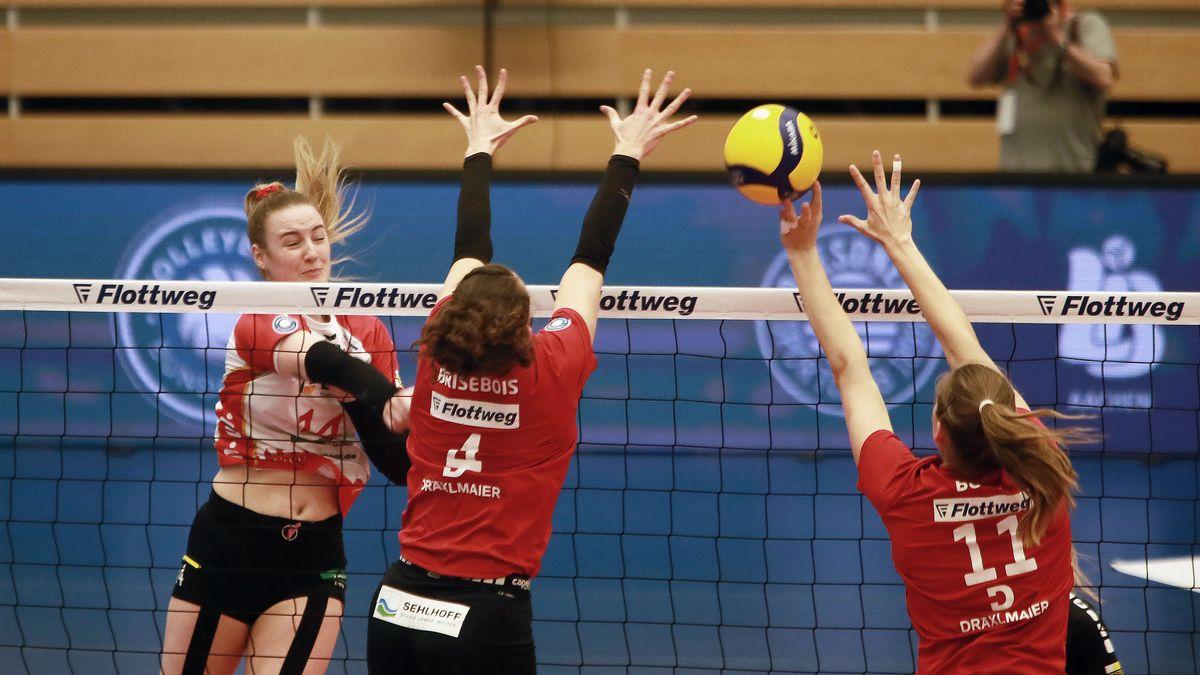 Die Rote Raben im ersten Playoff-Viertelfinalspiel in der Ballsporthalle Vilsbiburg gegen den SC Potsdam